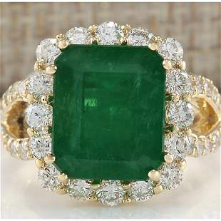 7.49 CTW Natural Colombian Emerald And Diamond Ring In
