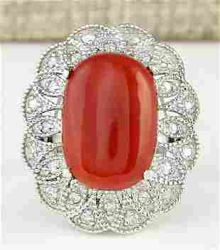 9.07 CTW Natural Coral And Diamond Ring In 14k White