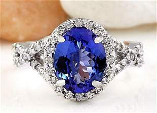4.00 CTW Natural Tanzanite 14K Solid White Gold Diamond