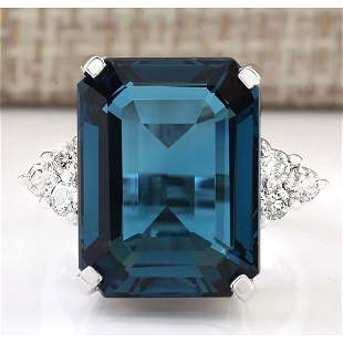 13.04 CTW Natural London Blue Topaz And Diamond Ring