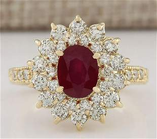 3.12 CTW Natural Ruby And Diamond Ring In 18K Yellow