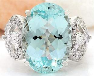 11.18 CTW Natural Aquamarine 18K Solid White Gold