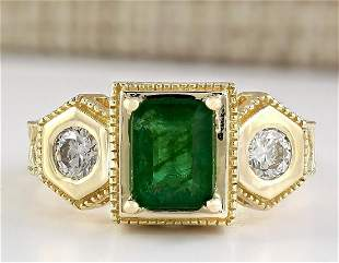 2.34 CTW Natural Emerald And Diamond Ring In 18K Yellow