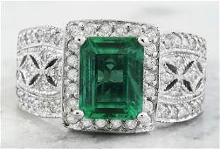 3.06 CTW Emerald 14K White Gold Diamond Ring