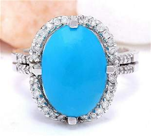 5.52 CTW Natural Turquoise 18K Solid White Gold Diamond
