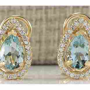 2.76 CTW Natural Aquamarine And Diamond Earrings 18K