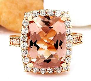 7.12 CTW Natural Morganite 18K Solid Rose Gold Diamond