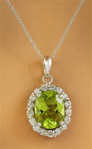 2.00 CTW Peridot 14K White Gold Diamond Necklace
