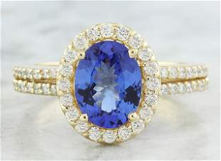 2.34 CTW Tanzanite 14K Yellow Gold Diamond Ring