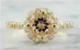 124 CTW Morganite 18K Yellow Gold Diamond Ring