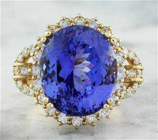 20.15 CTW Tanzanite 14K Yellow Gold Diamond Ring