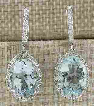 9.96 CTW Natural Aquamarine And Diamond Earrings 18K