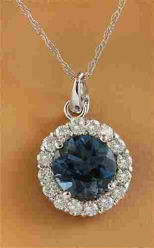 1.82 CTW Topaz 14K White Gold Diamond Necklace