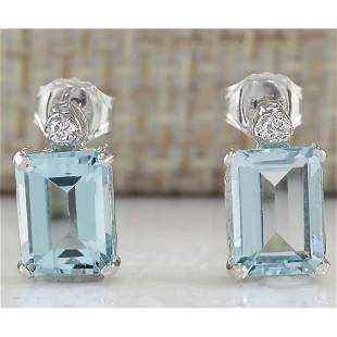 2.06 CTW Natural Aquamarine And Diamond Earrings 18K