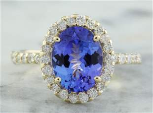 3.24 CTW Tanzanite 14K Yellow Gold Diamond Ring