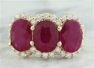 8.32 CTW Ruby 18K Yellow Gold Diamond Ring