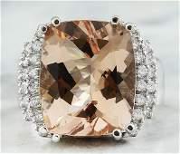 1120 CTW Morganite 14K White Gold Diamond Ring