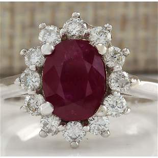 2.81 CTW Natural Red Ruby And Diamond Ring 14K Solid