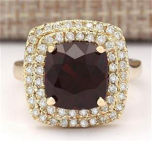6.26 CTW Natural Rhodolite Garnet And Diamond Ring In