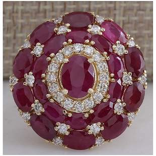 13.23 CTW Natural Red Ruby And Diamond Ring 14k Solid