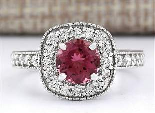 2.10 CTW Natural Pink Tourmaline And Diamond Ring 18K