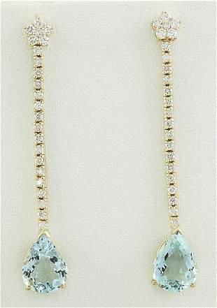 7.17 CTW Aquamarine 18K Yellow Gold Diamond earrings