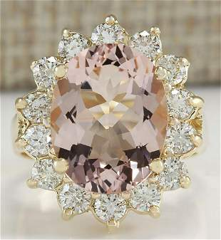 6.08 CTW Natural Morganite And Diamond Ring In 14K