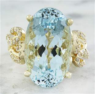 14.25 CTW Aquamarine 14K Yellow Gold Diamond Ring