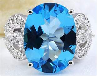 11.40 CTW Natural Topaz 14K Solid White Gold Diamond