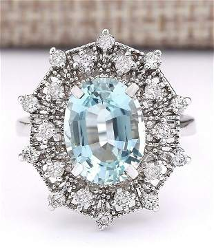 4.32 CTW Natural Aquamarine And Diamond Ring In 18K