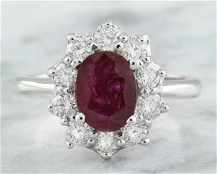 2.81 CTW Ruby 18K White Gold Diamond Ring