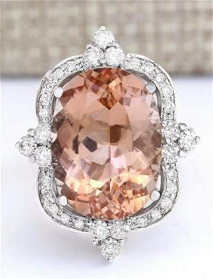 13.51 CTW Natural Morganite And Diamond Ring In 18K
