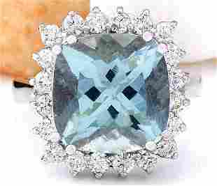 7.01 CTW Natural Aquamarine 14K Solid White Gold