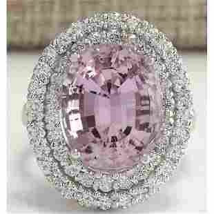 13.33 CTW Natural Kunzite And Diamond Ring 18K Solid
