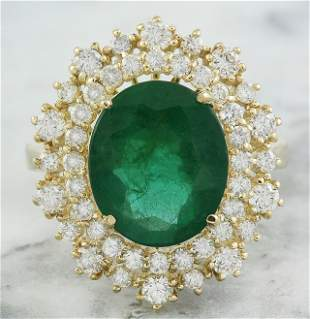 5.93 CTW Emerald 14K Yellow Gold Diamond Ring