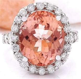 13.50 CTW Natural Morganite 14K Solid White Gold