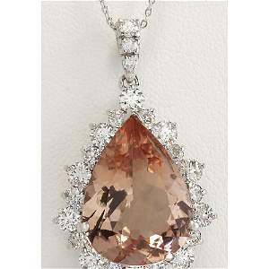 13.42 CTW Natural Morganite And Diamond Pendant In 18K