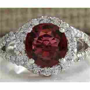 4.35 CTW Natural Pink Tourmaline And Diamond Ring 18K