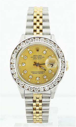 Authentic Rolex Oyster Perpetual Datejust Diamond Watch