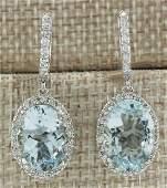 9.96 CTW Natural Aquamarine And Diamond Earrings 14K