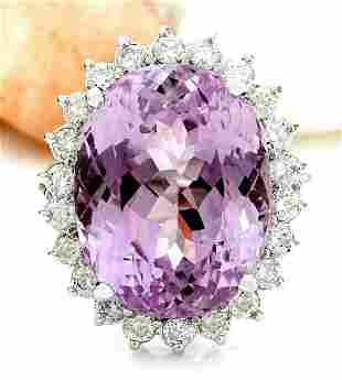 23.73 CTW Natural Kunzite 14K Solid White Gold Diamond