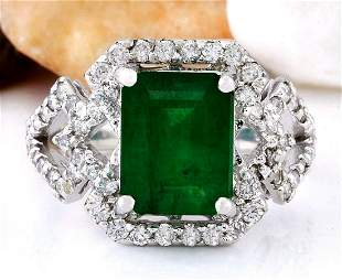 4.43 CTW Natural Emerald 14K Solid White Gold Diamond