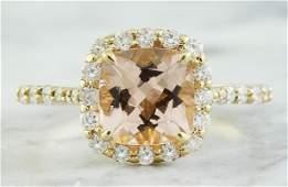232 CTW Morganite 18K Yellow Gold Diamond Ring