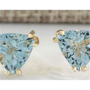 2.11 CTW Natural Blue Aquamarine Earrings In 18K Yellow