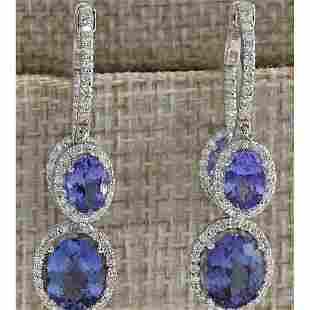 7.78 CTW Natural Tanzanite And Diamond Earrings 14K