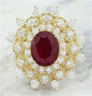 3.96  CTW Ruby 18K Yellow Gold Diamond Ring