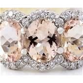 823 CTW Natural Morganite 14K Solid White Gold Diamond