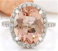 657 CTW Natural Morganite 14K Solid White Gold Diamond