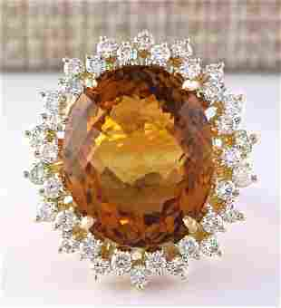 28.47 CTW Natural Madeira Citrine And Diamond Ring 14k