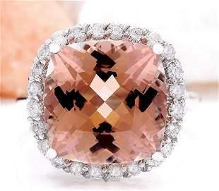 9.86 CTW Natural Morganite 14K Solid White Gold Diamond